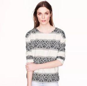 J Crew Jacquard Striped Pullover Sweatshirt